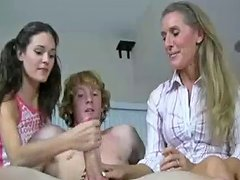 Teen And Milf Decide To Jerk His Cock For Hot Cum