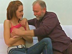 Old Fat Romeo Rams His Ancient Dick Into Redhead Teens Tight Pussy